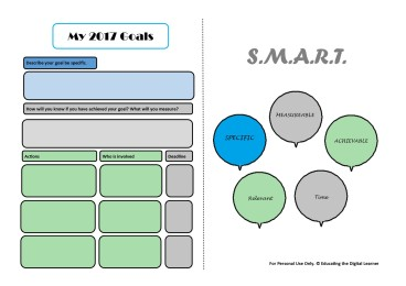 Exclusive educating the digital learner SMART goal template Make a start to the school year by planning your goals for the year before your start helping students plan for theirs.